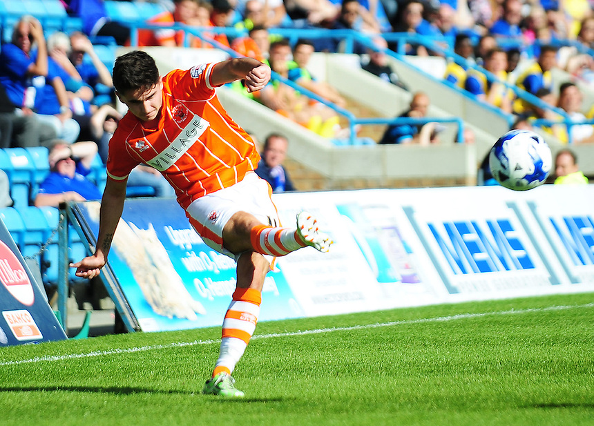 Blackpool's Henry Cameron hits a cross into the area<br /> <br /> Photographer Kevin Barnes/CameraSport<br /> <br /> Football - The Football League Sky Bet League One - Gillingham v Blackpool - Saturday 12th September 2015 - MEMS Priestfield Stadium - Gillingham<br /> <br /> &copy; CameraSport - 43 Linden Ave. Countesthorpe. Leicester. England. LE8 5PG - Tel: +44 (0) 116 277 4147 - admin@camerasport.com - www.camerasport.com
