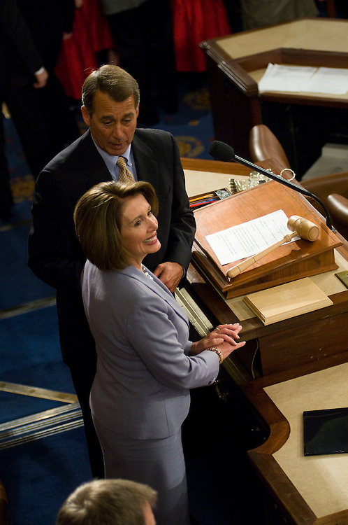 WASHINGTON, DC - Jan. 06: House Minority Leader John A. Boehner, R-Ohio, and House Speaker Nancy Pelosi, D-Calif., during the opening session of the 111th Congress in the House of Representatives. Pelosi, the first woman to hold the post since its advent in 1789, was easily re-elected Speaker, 255-174. (Photo by Scott J. Ferrell/Congressional Quarterly)