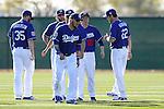 (R-L) Clayton Kershaw, Kenta Maeda, Yasmani Grandal, Brandon Beachy, Brett Anderson (Dodgers),<br /> FEBRUARY 20, 2016 - MLB :<br /> Los Angeles Dodgers spring training baseball camp in Glendale, Arizona, United States. (Photo by AFLO)