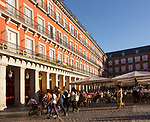 Plaza Mayor, Madrid, Spain designed 1619 Juan Gomez de Mora central square tourist attraction in the heart of the city
