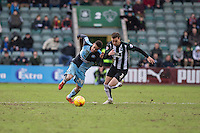Paris Cowan-Hall of Wycombe Wanderers gets past Gary Sawyer of Plymouth Argyle during the Sky Bet League 2 match between Plymouth Argyle and Wycombe Wanderers at Home Park, Plymouth, England on 30 January 2016. Photo by Mark  Hawkins / PRiME Media Images.