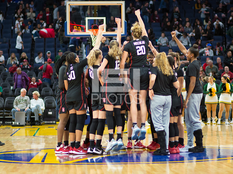 SAN FRANCISCO, CA - NOVEMBER 09: San Francisco, CA - November 9, 2019: Estella Moschkau, Lexie Hull, Alyssa Jerome, Haley Jones at the Chase Center. The Stanford Cardinal defeated the USF Dons 97-71. during a game between University of San Francisco and Stanford Basketball W at Chase Center on November 09, 2019 in San Francisco, California.