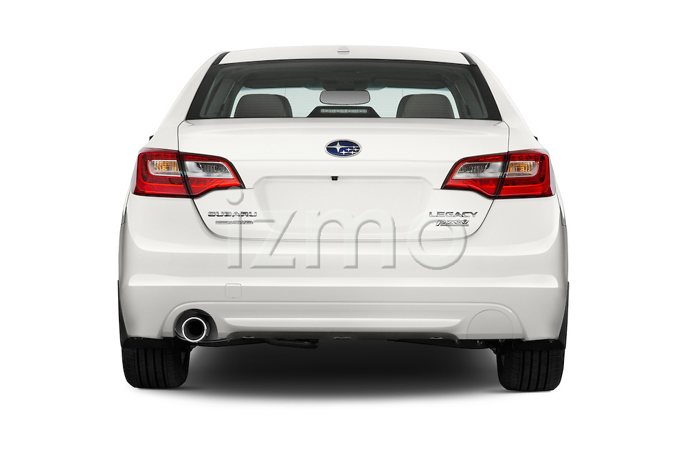 Straight rear view of a 2015 Subaru Legacy 2.5I Premium 4 Door Sedan 2WD Rear View  stock images