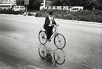 Israel, March and April 1987  ..A trip through Israel and its occupied territories during the first Intifada, Palestinian uprising in 1987.  Orthodox jew on bicycle in the Mea Sharim neighbourhood in Jerusalem...Photo Kees Metselaar