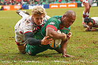 28.02.2015.  Leicester, England.  Aviva Premiership. Leicester Tigers versus Sale Sharks.  Seremaia Bai  (Leicester Tigers) scores in the final minutes of the match to seal the victory.