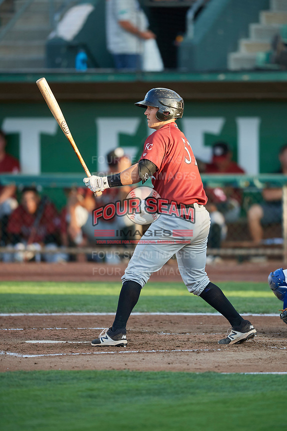 Chris Hudgins (52) of the Idaho Falls Chukars bats against the Ogden Raptors at Lindquist Field on August 28, 2017 in Ogden, Utah. Ogden defeated Idaho Falls 7-1. (Stephen Smith/Four Seam Images)