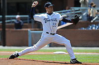 Asheville Tourists Josh Slaats #33 delivers a pitch during a game against  the Lexington Legends at McCormick Field in Asheville,  North Carolina;  April 17, 2011. Lexington defeated Aheville 18-9.  Photo By Tony Farlow/Four Seam Images
