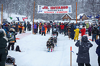 Bailey Schaeffer leaves the during the start of the 2018 Junior Iditarod Sled Dog Race on Knik Lake in Southcentral, Alaska.  Saturday February 24, 2018<br /> <br /> Photo by Jeff Schultz/SchultzPhoto.com  (C) 2018  ALL RIGHTS RESERVED