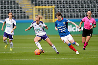 20190813 - ANDERLECHT, BELGIUM : Anderlecht's Sarah Wijnants (11) and Linfield's Kirsty McGuinness (11) pictured during the female soccer game between the Belgian RSCA Ladies – Royal Sporting Club Anderlecht Dames and the Northern Irish Linfield ladies FC , the third and final game for both teams in the Uefa Womens Champions League Qualifying round in group 8 , Tuesday 13 th August 2019 at the Lotto Park Stadium in Anderlecht , Belgium  .  PHOTO SPORTPIX.BE | STIJN AUDOOREN