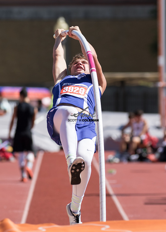 Brady Lyssy of Falls City High School competes in the Class 2A pole vault event at the UIL State Track and Field Meet at Mike A. Myers Stadium in Austin, Texas, on Friday, May 12, 2017. Lyssy finished sixth with a vault of 13 feet.