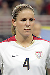 Oct 13 2007:   Cat Whitehill (4) of the US WNT.  The US Women's National Team defeated Mexico 5-1 at the Edward Jones Dome in St. Louis on October 13th in their first of three expo matches.