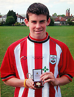 Pictured: A young Gareth Bale in a Southampton top, with a FA Youth Cup award in 2005. STOCK PICTURE<br /> Re: Real Madrid and Wales International footballer Gareth Bale who has helped Wales to progress to the last 16 in the UEFA European Championship in France.