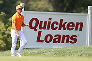 Bethesda, MD - June 26, 2016:  Rickie Fowler (USA) in action during Final Round of professional play at the Quicken Loans National Tournament at the Congressional Country Club in Bethesda, MD, June 26, 2016.  (Photo by Elliott Brown/Media Images International)