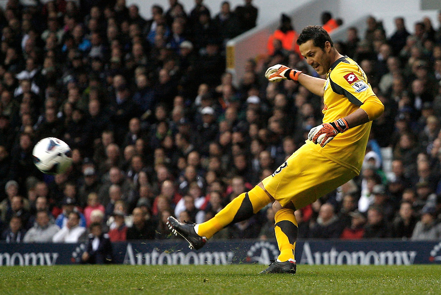 Queens Park Rangers' Julio Cesar in action during todays match  ..Football - Barclays Premiership - Tottenham Hotspur v Queens Park Rangers - Sunday 23rd September 2012 - White Hart Lane - London..