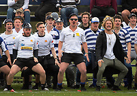 Timaru fans perform a haka during the UC Championship 1st XV rugby final between Christchurch Boys' High School and Timaru Boys' High School at Christchurch Boys' High School in Christchurch, New Zealand on Saturday, 26 August 2017. Photo: Dave Lintott / lintottphoto.co.nz
