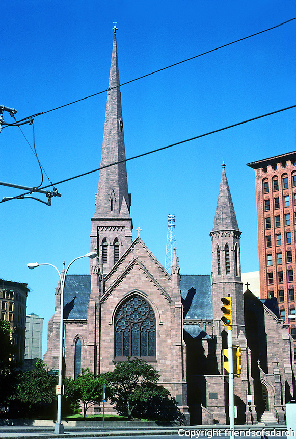 Buffalo: St. Paul's Episcopal Church. Architect Richard Upjohn. Cathedral, 1849-51; tower, 1870-71. Church St. at Pearl. The inspiration from English Medieval Parish Churches. Photo '88.