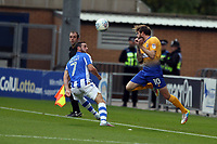 Paul Anderson of Mansfield Town gets his head to the aerial ball during Colchester United vs Mansfield Town, Sky Bet EFL League 2 Football at the Weston Homes Community Stadium on 7th October 2017