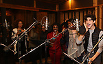Isaac Powell from cast of the Broadway revival of 'Once on This Island' in the recording studio for the new Broadway cast recording with Broadway Records at Power Station on December 21, 2017 in New York City.
