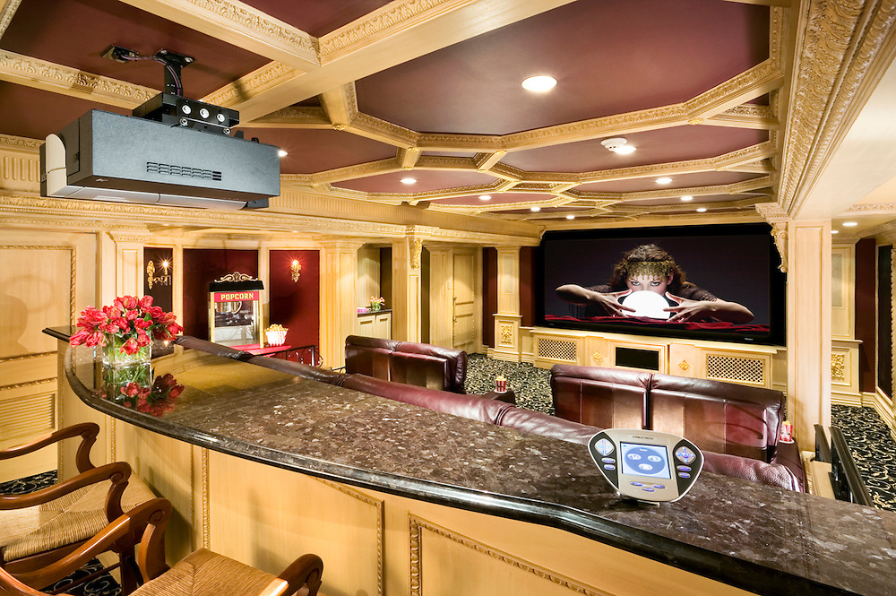 Big Screen Movie Theater With Granite Theater Counters