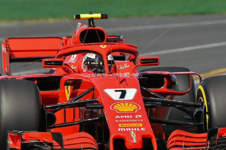 March 23, 2018: Kimi Raikkonen (FIN) #7 from the Scuderia Ferrari team during practice session one at the 2018 Australian Formula One Grand Prix at Albert Park, Melbourne, Australia. Photo Sydney Low