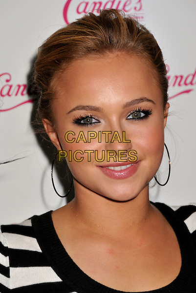 HAYDEN PANETTIERE.In Store Appearance at Kohl's Arcadia, San Gabriel, CA, USA, .13 December 2008 .portrait headshot black and white striped top hoop earrings eyeliner make-up hair up .CAP/ADM/BP.©Byron Purvis/Admedia/Capital PIctures