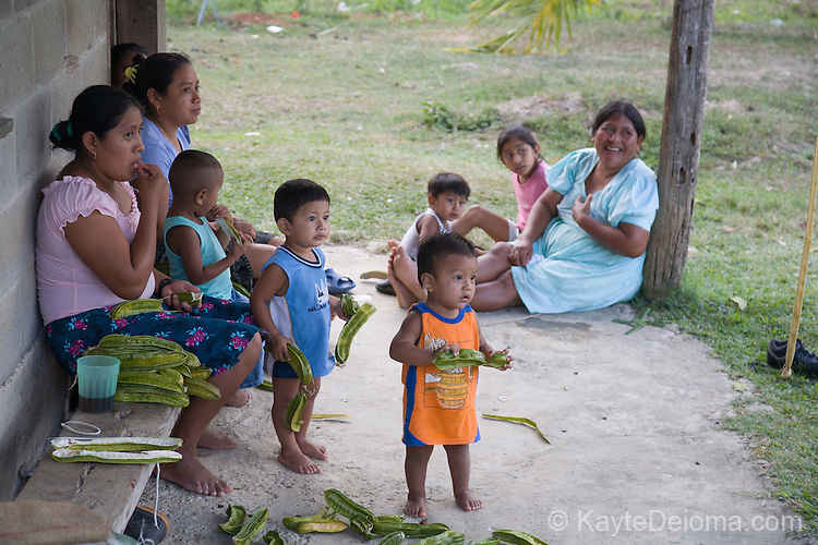 Mayan mother and children in the Mayan community of San Miguel, Toledo, Belize