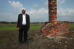 """Hugo Hollenreiner, a German Roma Sinti Auschwitz Holocaust survivor. 67th Anniversary. Memorial to murdered Roma and Sinti in the concentration camp at the so-called Zigeunerlager, the concentration camp hut for Roma and Sinti. Auschwitz II Birkenau, Oswiecim Poland ..Roma Holocaust """"Porrajmos"""", the Roma word means literally """"the devouring"""", where it is estimated that between 500 thousand and one and a half million Roma were exterminated across Germany, Poland, ex-Yugoslavia and Czechoslovakia during the 1930s and 1940s. The Roma were the first race to be subjected to experimentation by the Nazis, as part of Joseph Goebbels' 'Final Solution'."""