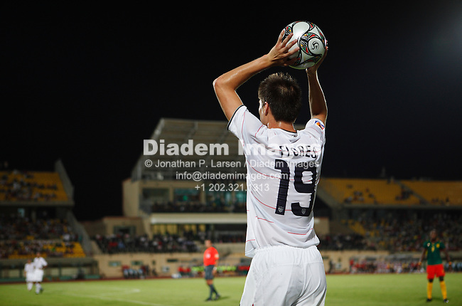 SUEZ, EGYPT - SEPTEMBER 29:  Jorge Flores of the United States sets for a throw in during a FIFA U-20 World Cup soccer match against Cameroon September 29, 2009 in Suez, Egypt.  (Photograph by Jonathan P. Larsen)