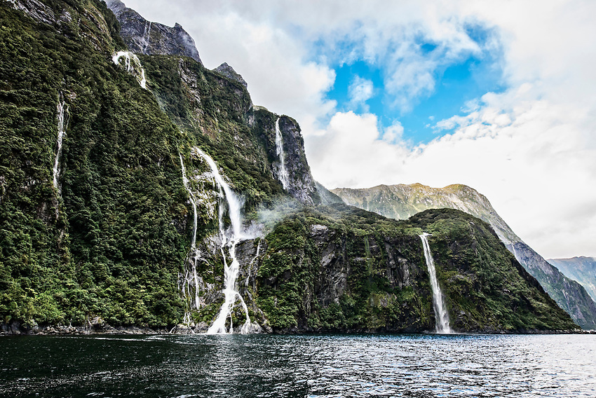 View from a boat on an afternoon in Milford Sound