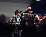 David and Brooklyn Beckham look on<br /> <br /> - UEFA Champions League - Chelsea vs Paris Saint Germain - Stamford Bridge - London - England - 9th March 2016 - Pic David Klein/Sportimage