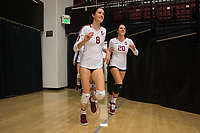 STANFORD, CA - October 12, 2018: Michaela Keefe, Caitlin Keefe at Maples Pavilion. No. 2 Stanford Cardinal swept No. 21 Washington State Cougars, 25-15, 30-28, 25-12.