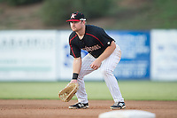 Kannapolis Intimidators first baseman Mason Robbins (10) on defense against the Hagerstown Suns at Intimidators Stadium on July 18, 2015 in Kannapolis, North Carolina.  The Intimidators defeated the Suns 1-0.  (Brian Westerholt/Four Seam Images)