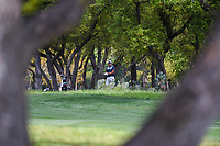 Byeong Hun An (KOR) looks over his shot from the trees on 1 during day 1 of the Valero Texas Open, at the TPC San Antonio Oaks Course, San Antonio, Texas, USA. 4/4/2019.<br /> Picture: Golffile | Ken Murray<br /> <br /> <br /> All photo usage must carry mandatory copyright credit (© Golffile | Ken Murray)