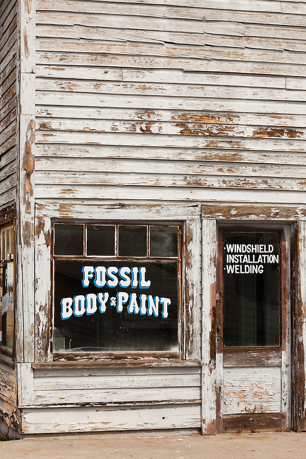 An abandoned auto body and paint shop is seen in Fossil, Oregon in Wheeler County.