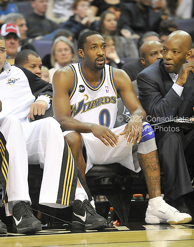 Washington, DC - January 2, 2010 -- Washington Wizards guard Gilbert Arenas (0) watches second quarter action from the bench against the San Antonio Spurs at the Verizon Center in Washington, D.C. on Saturday, January 2, 2010..Credit: Ron Sachs / CNP..(RESTRICTION: NO New York or New Jersey Newspapers or newspapers within a 75 mile radius of New York City)