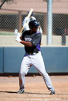 Colorado Rockies minor league infielder Harold Riggins #33 during an instructional league game against the Chicago Cubs at the Salt River Flats Complex on October 13, 2012 in Scottsdale, Arizona.  (Mike Janes/Four Seam Images)