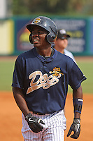 Charleston Riverdogs infielder Jose Toussen after being thrown out at first base on a groundout during a game against the Delmarva Shorebirds at Joseph P. Riley Ballpark in Charleston, South Carolina on July 10, 2011. Charleston defeated Delmarva 5-4 in the 2nd game of a doubleheader.   Robert Gurganus/Four Seam Images