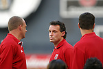 15 May 2004: DC United head coach Peter Nowak (center) with his assistants Tom Soehn (left) and Mark Simpson (right) before the game. DC United defeated the Kansas City Wizards 1-0 at RFK Stadium in Washington, DC during a regular season Major League Soccer game..