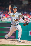 21 June 2015: Pittsburgh Pirates starting pitcher Charlie Morton on the mound in the first inning against the Washington Nationals at Nationals Park in Washington, DC. The Nationals defeated the Pirates 9-2 to sweep their 3-game weekend series, and improve their record to 37-33. Mandatory Credit: Ed Wolfstein Photo *** RAW (NEF) Image File Available ***