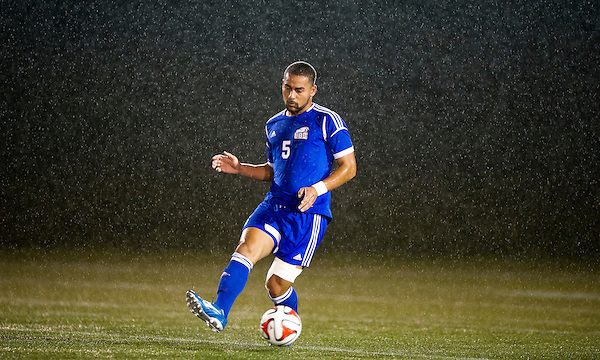 NOVEMBER 6, 2015: Action from a CIS Canada West men's soccer Final Four semifinal game between the University of British Columbia Thunderbirds and the University of the Fraser Valley Cascades at Thunderbird Stadium, University of British Columbia, Vancouver, BC, Canada.  <br /> <br /> ****(Photo by Rich Lam/UBC Athletics) 2015 All Rights Reserved****
