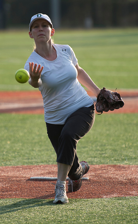 UNITED STATES - June 20: Sen. Kirsten Gillibrand, D-NY., during practice for the Congressional Women's Softball Game at  Watkins Elementary in Washington, D. C. on June 20, 2013. The bi-partisan group of women Members of Congress take the field against the the women of the DC Press Corps to raise funds and awareness for young women with breast cancer and will be played on Wednesday, June 26, 2013.   (Photo By Douglas Graham/CQ Roll Call)
