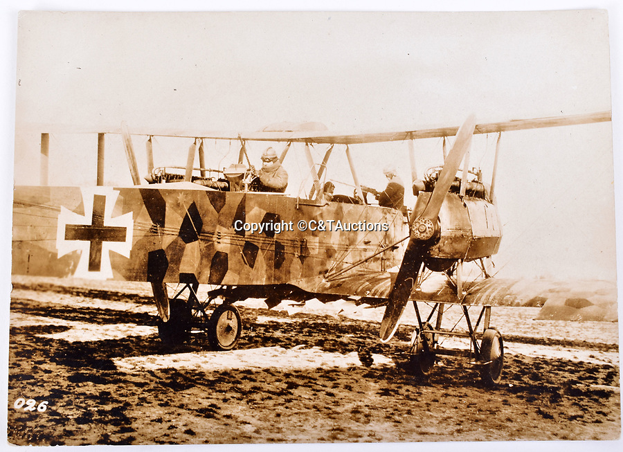 Bmth News (01202 558833)<br /> Picture:   C&TAuctions/BNPS<br /> <br /> Unusual German aircraft with 'push' propellers facing backwards - In the early days of flight the best configuration was still a matter of opinion..<br /> <br /> Remarkable photographs revealing how the Germans used captured British tanks against us because theirs were no good have come to light over 100 years later.<br /> <br /> The British were the first to invent the tank in 1916 and a year later used them to overwhelm the enemy at the Battle of Cambrai in the First World War.<br /> <br /> Although the battle was a success for the British, the Germans captured several Mark IV tanks.<br /> <br /> Now black and white photos have emerged to show the German high command inspecting one the hulking machines in Berlin in 1918.<br /> <br /> Other pictures in the album depicts the early days of aerial warfare when hand grenades were dropped over the side of the cockpits by German pilots.