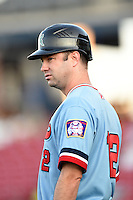 Cedar Rapids Kernels manager Jake Mauer (12) during a game against the Quad Cities River Bandits on August 19, 2014 at Perfect Game Field at Veterans Memorial Stadium in Cedar Rapids, Iowa.  Cedar Rapids defeated Quad Cities 5-3.  (Mike Janes/Four Seam Images)