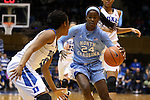 24 January 2016: North Carolina's Destinee Walker (24) and Duke's Kyra Lambert (15). The Duke University Blue Devils hosted the University of North Carolina Tar Heels at Cameron Indoor Stadium in Durham, North Carolina in a 2015-16 NCAA Division I Women's Basketball game. Duke won the game 71-55.
