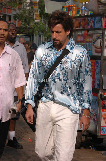 WWW.ACEPIXS.COM . . . . .  ....July 27, 2007. New York City.....Adam Sandler on the set of 'You Don't Mess with the Zohan'  in New York City.....Sandler also wrote the comedy about an agent who fakes his own death and reemerges as a hair stylist.......Please byline: AJ Sokalner - ACEPIXS.COM.... *** ***..Ace Pictures, Inc:  ..Philip Vaughan (646) 769 0430..e-mail: info@acepixs.com..web: http://www.acepixs.com