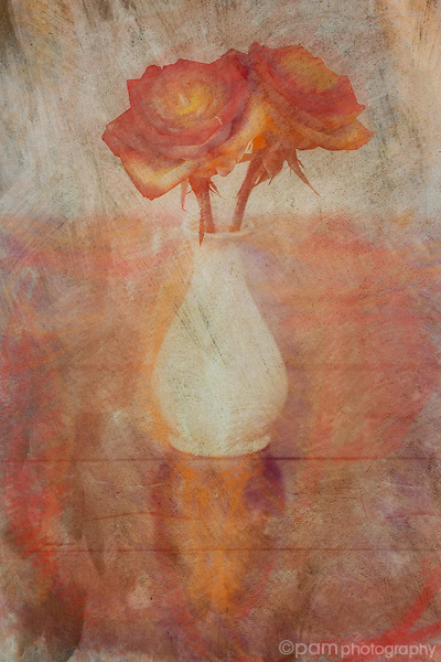 Artistic interpretation of two red roses in a white vase sitting on a wooden table