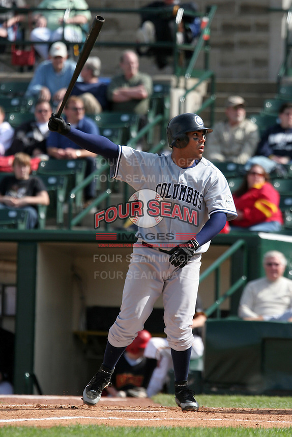 Columbus Clippers Carlos Pena during an International League game at Frontier Field on June 4, 2006 in Rochester, New York.  (Mike Janes/Four Seam Images)