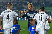 Melbourne, May 3, 2019 - Former Japanese International player Keisuke Honda (4) of Melbourne Victory in action in the Elimination Final of the A-League between Melbourne Victory and Wellington Phoenix at AAMI Park, Melbourne, Australia. Photo Sydney Low
