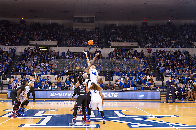The Kentucky Wildcats and the South Carolina Gamecocks tip-off at Memorial Coliseum on Sunday, March 1, 2015 in Lexington, Ky. Kentucky defeated South Carolina 67-56. Photo by Michael M Reaves | Staff.
