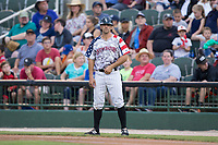 J.J. Franco (1) of the Kannapolis Intimidators coaches first base during the game against the Delmarva Shorebirds at Kannapolis Intimidators Stadium on July 3, 2017 in Kannapolis, North Carolina.  The Shorebirds defeated the Intimidators 5-2.  (Brian Westerholt/Four Seam Images)